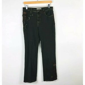Chico's Platinum Embroidered Sequin Bootcut Jeans